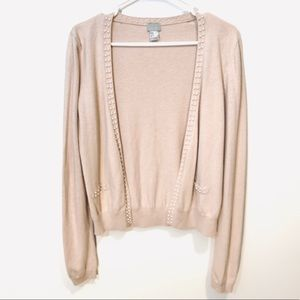 Angora Wool Beige Open Front Cardigan Pearl Trim M